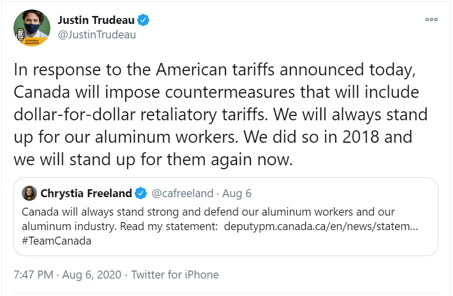 Trudeau tariff tweet