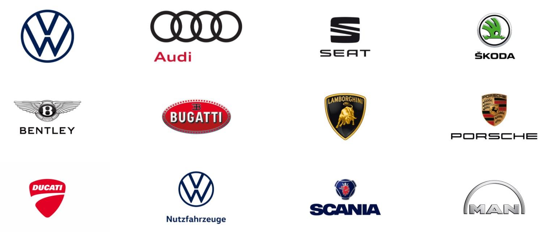 Logos der Auto Marken unter dem VW Dach