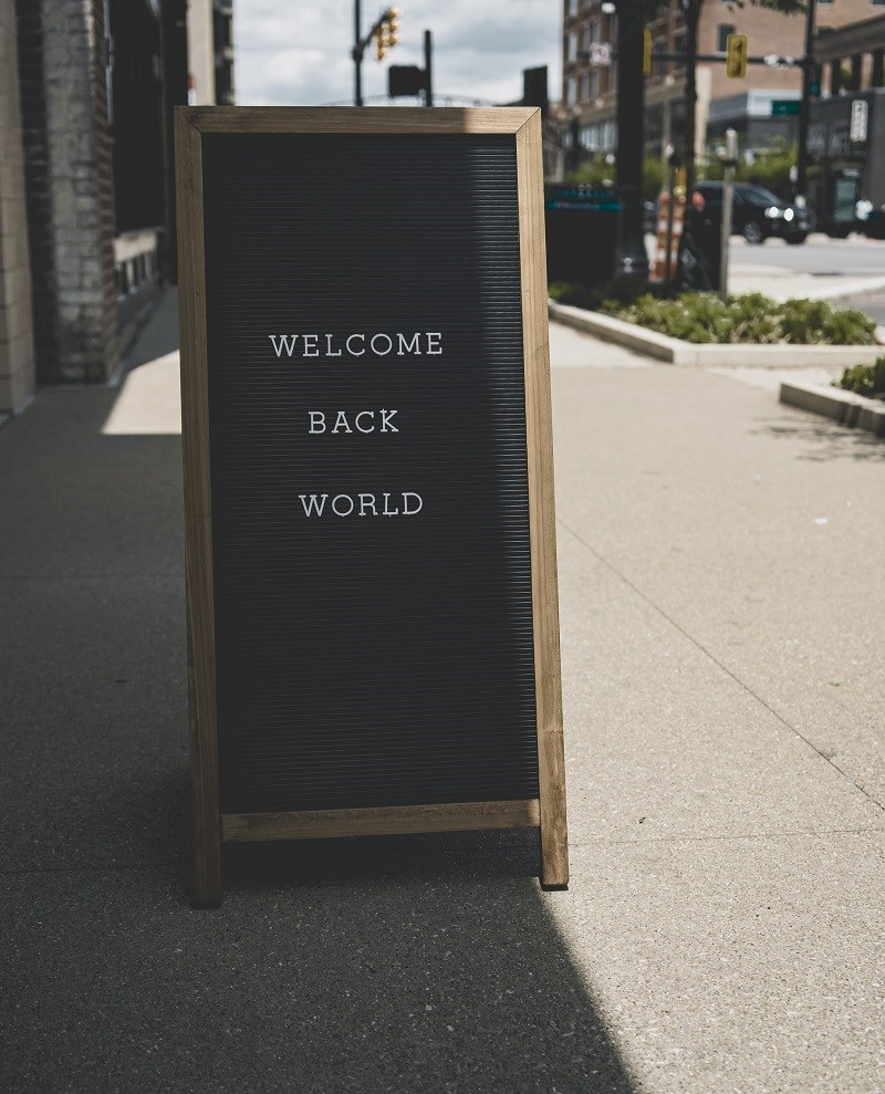 Welcome Back World sign