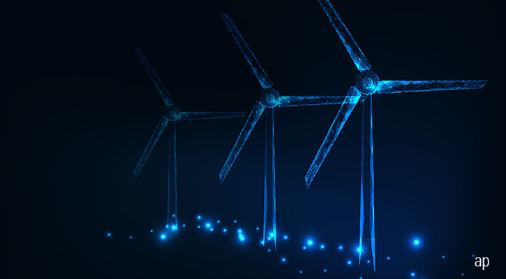 Wind farms in neon