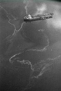 """Aerial photograph of Exxon Valdez oil spill"""