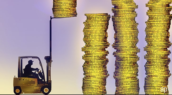 Forklift truck saving coins article