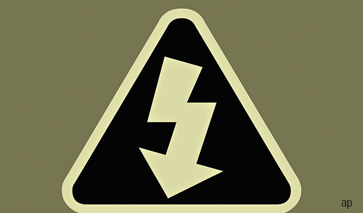 warning sign with lightning arrow.