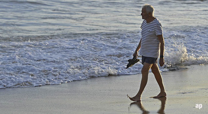 pensioner on the beach