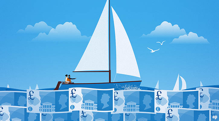boat sailing on pound notes