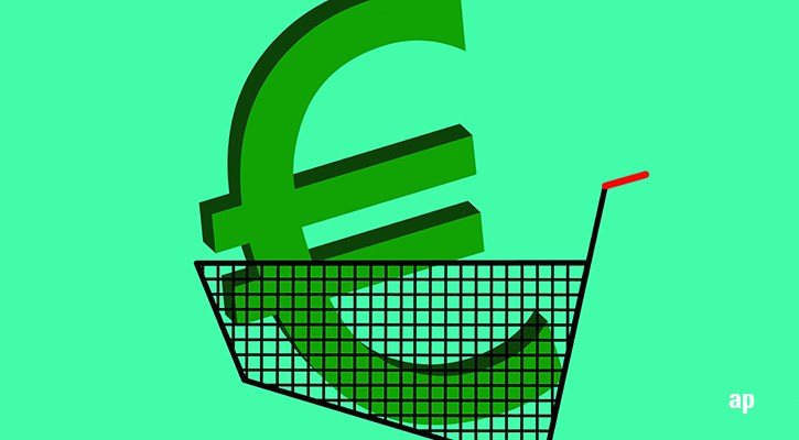 euro symbol in shopping trolley