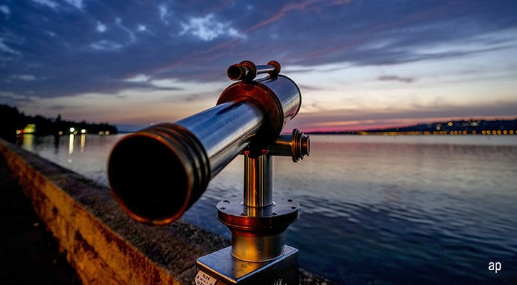 telescope looking over a lake