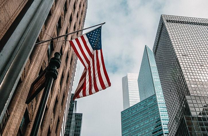 US Flag Wall Street