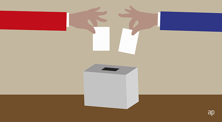 Voting in ballot box
