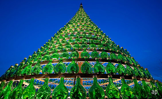 Christmas Tree Made of Glass Bottles