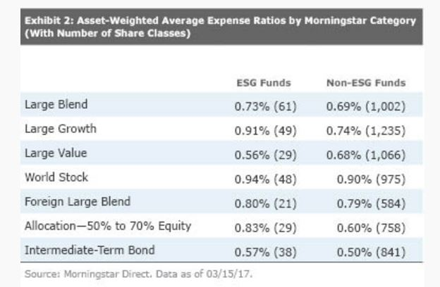 Asset weighted TER dei fondi SRI USA