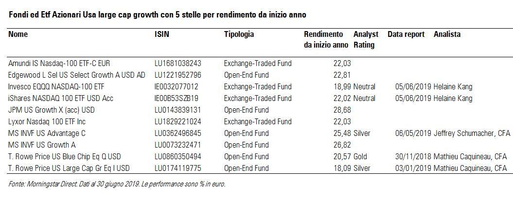 Fondi ed ETF azionari USA large cap growth