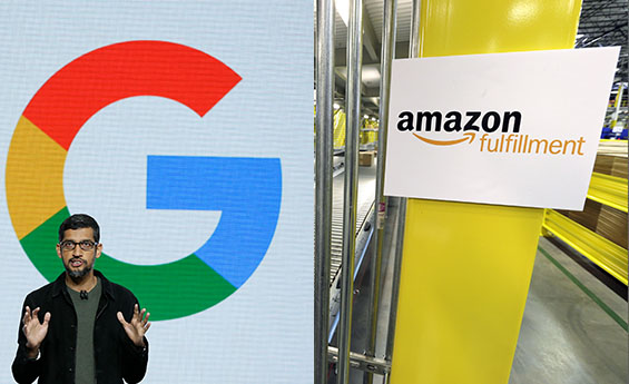 Google, Amazon, Apple, Microsoft, share prices, valuations, US stocks