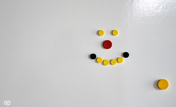 Smiley face on a whiteboard