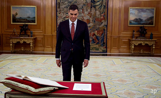 Socialist Pedro Sanchez was sworn in as Spain's prime minister on Saturday
