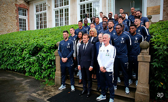 Emmanuel Macron Meets the France Football Team