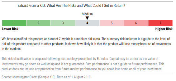 Extract from a KID document what are the risks of this fund