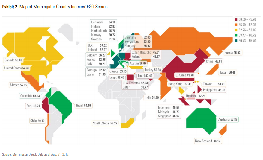Map of Morningstar Country Indexes' ESG Scores