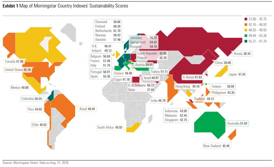 Map of Morningstar Country Indexes' Sustainability Scores